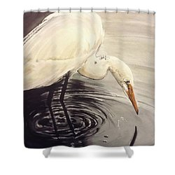 Great Egret , Mirror Shower Curtain