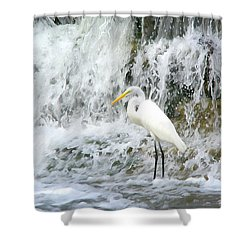 Great Egret Hunting At Waterfall - Digitalart Painting 2 Shower Curtain