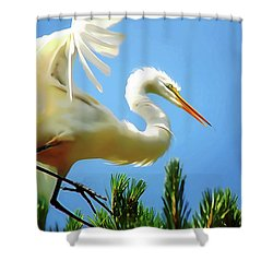 Great Egret Preparing For Treetop Landing 3 - Digitalart Shower Curtain