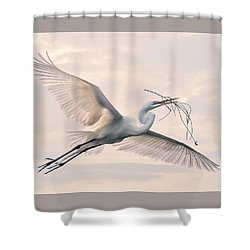 Shower Curtain featuring the photograph Great Egret With Nesting Material by Brian Tarr