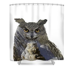 Great Horned Owl And Mammoth Hot Springs Shower Curtain