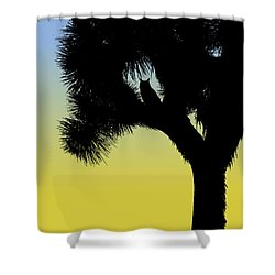 Great Horned Owl In A Joshua Tree Silhouette At Sunrise Shower Curtain