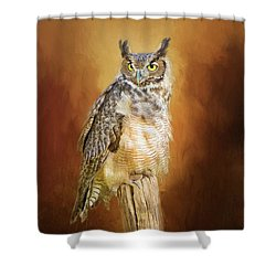 Great Horned Owl In Autumn Shower Curtain