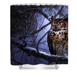 Great Horned Shower Curtain by Ron Jones
