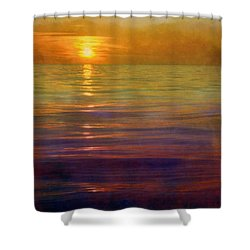 Shower Curtain featuring the digital art Great Lakes Setting Sun by Michelle Calkins