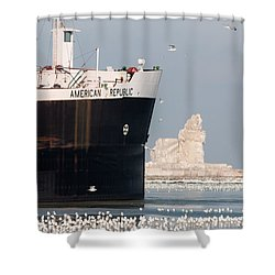 Great Lakes Ship Passing A Frozen Cleveland Lighthouse Shower Curtain