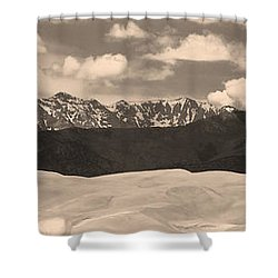 Great Sand Dunes Panorama 1 Sepia Shower Curtain by James BO  Insogna