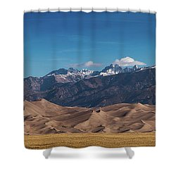 Shower Curtain featuring the photograph Great Sand Dunes Panorama 3to1 by Stephen Holst