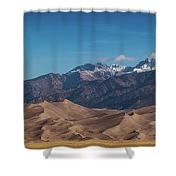 Shower Curtain featuring the photograph Great Sand Dunes Panorama 4to1 by Stephen Holst