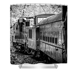 Shower Curtain featuring the photograph Great Smokey Mountain Railroad Looking Out At The Train In Black And White by Kelly Hazel