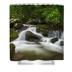 Great Smoky Mountains Gatlinburg Tn Roaring Fork Waterfall Nature Shower Curtain