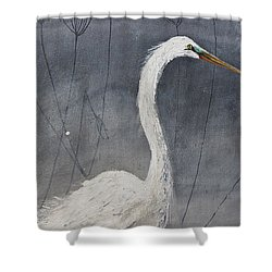 Great White Heron Original Art Shower Curtain