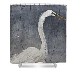 Great White Heron Original Art Shower Curtain by Gray Artus