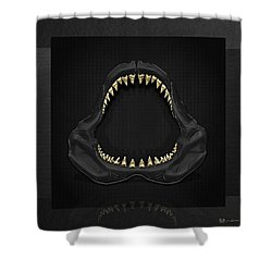 Great White Shark Jaws With Gold Teeth  Shower Curtain by Serge Averbukh