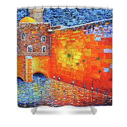 Shower Curtain featuring the painting Wailing Wall Greatness In The Evening Jerusalem Palette Knife Painting by Georgeta Blanaru