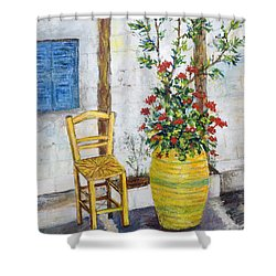 Greek Chair Shower Curtain by Lou Ann Bagnall
