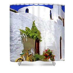 Greek Church With Bike Shower Curtain by Dennis Cox WorldViews