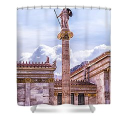 Greek God Shower Curtain by Linda Constant