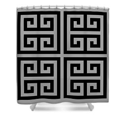 Greek Key Black Background 02-p0108 Shower Curtain