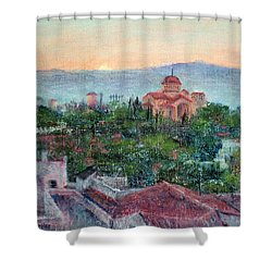Greek Orthodox Sunset Shower Curtain