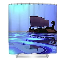 Greek Ship Shower Curtain by Corey Ford