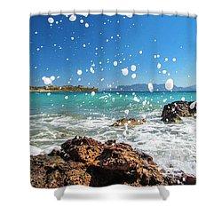 Greek Surf Spray Shower Curtain