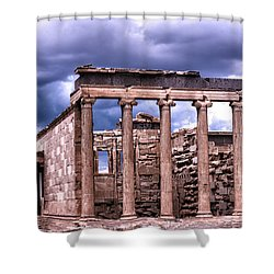 Greek Temple Shower Curtain by Linda Constant