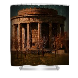 Greek Temple Monument War Memorial Shower Curtain by Angie Tirado