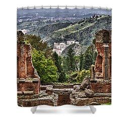 Greek Theater Shower Curtain by Janet Fikar