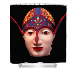 Greek Warrior Head Shower Curtain by Nigel Fletcher-Jones