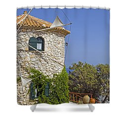 Greek Windmill Shower Curtain