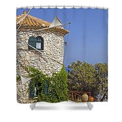 Greek Windmill Shower Curtain