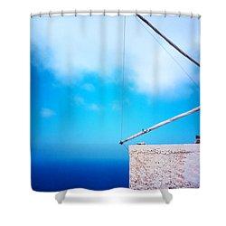 Greek Windmill Shower Curtain by Silvia Ganora