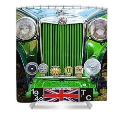 Shower Curtain featuring the photograph Green 1948 Mg Tc by Chris Dutton