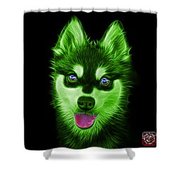 Green Alaskan Klee Kai - 6029 -bb Shower Curtain