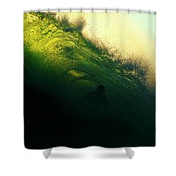Green And Black Shower Curtain