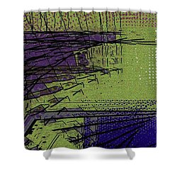 Green And Purple Field Shower Curtain