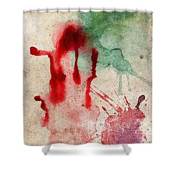 Green And Red Color Splash Shower Curtain