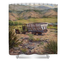 Green And Silver Truck Shower Curtain