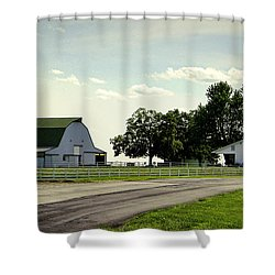 Green And White Farm Shower Curtain by Cricket Hackmann