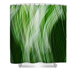Green And White Thatch Shower Curtain