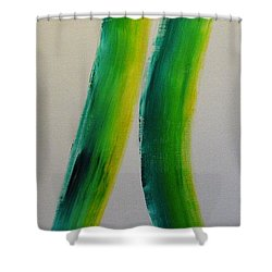 Green And Yellow Shower Curtain by Barbara Yearty