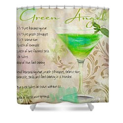 Green Angel Mixed Cocktail Recipe Sign Shower Curtain by Mindy Sommers