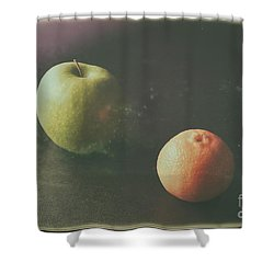 Green Apple And Tangerine Shower Curtain