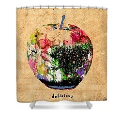 Green Apple Poster Print Shower Curtain