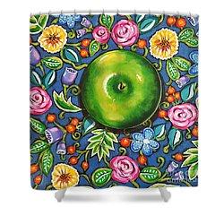 Green Apple Shower Curtain by Sandra Lett