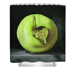 Green Apple With Leaf Shower Curtain