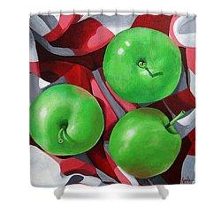 Green Apples Still Life Painting Shower Curtain