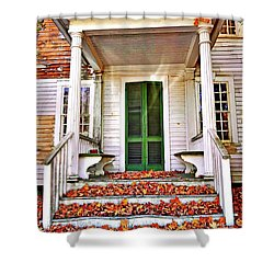 Green Autumn Door Shower Curtain
