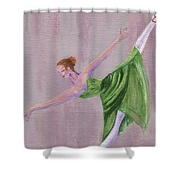 Shower Curtain featuring the painting Green Ballerina by Jamie Frier